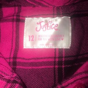 Justice Girls LS Plaid Shirt